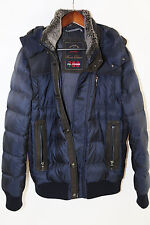 #157 PAUL & SHARK Leather Trim Hooded Goose Down 700 Fill Bomber Jacket Size M