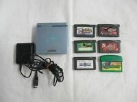 L613 Nintendo Gameboy Advance SP console Pearl Blue & 6 Game Adapter Japan GBA