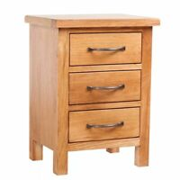 Hot Solid Oak Wood Nightstand w/ 3 Drawers Side Storage Table Cabinet Stand