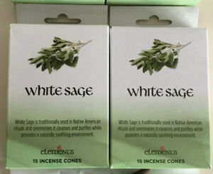 X2 Packs WHITE SAGE INCENSE CONES BY ELEMENTS CLEANSING PURIFY UK SELLER