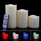 """Set Of 3Pcs Flameless LED Candles Light With Remote 12 Color Changing 4"""" 5"""" 6"""""""