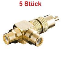 Y Video Chinch Cinc RCA Adapter Weiche 2x Cinch Buchse Kupplung auf 1x Stecker