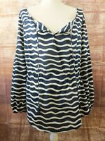 Tory Burch Evelina Top Cotton Voile Tunic Size 6 Blue White Stripe Peasant Boho