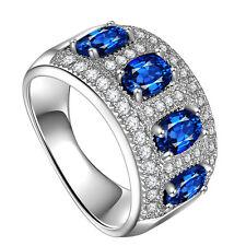 Women 925 Silver Jewelry Oval Cut Blue Sapphire Fashion Wedding Ring Size 9