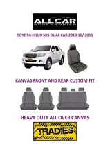 Canvas Car Seat Covers Front &Rear Custom Fit Toyota Hilux SR5 Dual Cab 2010-15