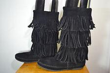 Minnetonka Moccasins Black Three Fringe Leather Moccasins Mid Calf Boots Size 6