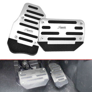 2x Non-Slip Automatic Gas Brake Foot Pedal Pad Cover Car Accessories Silver