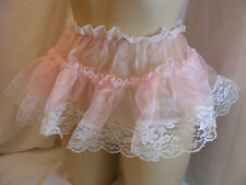 "SISSY LINGERIE PINK ORGANZA FRILLY MINI SKIRT PETTICOAT SLIP W/HIP 26 ""- 38"""