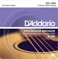 3 Sets D'Addario EJ26 Phosphor Bronze Guitar Strings Custom Light Gauge 11-52