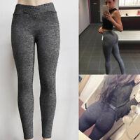 Femmes haute yoga sport gym pantalons sexy froisser élastique push up leggings
