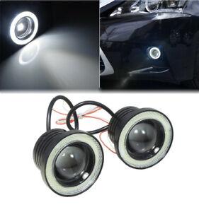 "2x White  Car Fog Light Running Lamps COB Halo 3"" Angel Eye Ring Hawkeye"