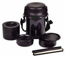 THERMOS Double stainless Lunch Box Bento 3box 1800ml Black HB-254 Japan