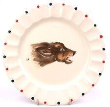 Vintage Longwy Pottery France Nemrod Hand Painted Enamel Dog Plate Signed