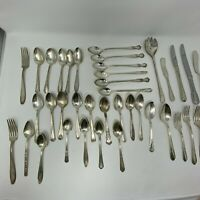 38 Pieces Vintage Silver Plate Flatware Oneida Mixed Lot Spoons Forks