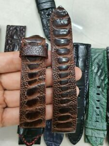 BROWN GRAY OSTRICH LEATHER WATCH STRAP BAND 22mm 20mm (AVAILABLE FOR ANY SIZES)