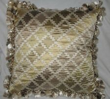 "ZOE & CO HANDMADE DESIGNER PILLOW ~ BROWN & TAN w/ TASSEL FRINGE ~ 16"" SQ"
