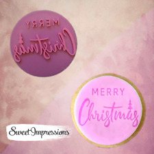 Merry Christmas embosser stamp, cookie cutter, fondant cupcake, baking