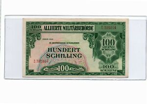 1944 Austria 100 Schillings Allied Military Currency AU Pick#110