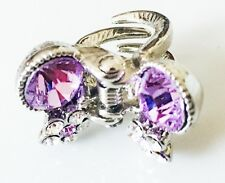 USA SELLER using Swarovski Crystal Hair Clip PIN Claw Butterfly Silver Purple 2