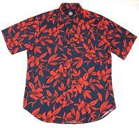 Reyn Spooner Mens Button Front S/S Shirt Sz Large Hawaiian Lei Floral 100% Rayon