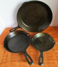 "3 Pc Cast Iron Skillet Fry Pan Cookware 10.5"" /  8"" / 6.5"" Taiwan Vintage Spouts"