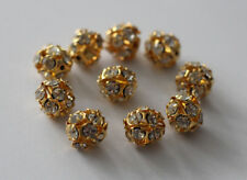 Modeschmuck 10 Metallperle Perle 10mm Farbe gold Zwischenperle mit Steinen Kugel