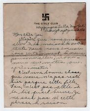 1926 WAPPINGERS FALLS NEW YORK Girls Club HANDWRITTEN LETTER NY French GIRLS'