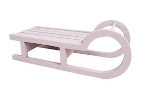 Deko Schlitten rosa runde Kufen | Holzschlitten Weihnachtsdeko Winterdeko | 24cm