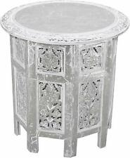 White and Silver Colored Wooden Coffee Table