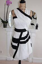 BNWOT Reiss White Black Stripes 6 8 XS Sleeveless Stripes Raina cocktail Dress S