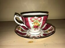 ROYAL ALBERT OLD COUNTRY ROSES RUBY CELEBRATION RIBBON RUBY DAMASK CUP & SAUCER