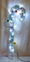 """NIB 24"""" H LED CHRISTMAS CANDY CANE MIRRORED W/ ORNAMENTS LIGHTED YARD DECORATION"""