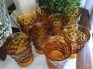 8 Vintage Amber Indiana Glass Whitehall Colony Footed Juice Goblets