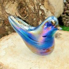 Neo Art Glass handmade iridescent blue bird sculpture paperweight by K.Heaton