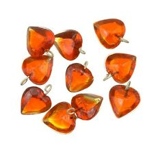 Transparent Heart Orange Glass Charm Pendants 12mm Pack of 10 (A92/13)