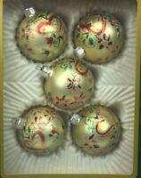 Christmas Classics Hand Decorated Elegant Glass Glitter Ornaments Balls Set 5