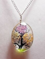 Diorama style 40mm glass pendant, flowers, tree  - 20'' chain