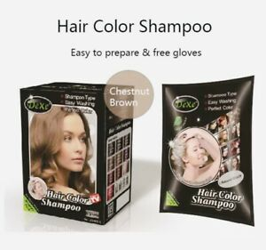 🥇USA Stock🥇10 Bags DEXE Chestnut Brown Hair Shampoo Best Color Dye Authentic