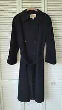 Talbots Petites size 12 dark navy midcalf lined trench coat, polyester