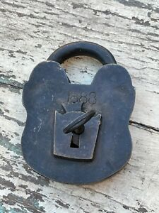 Antique Victorian Steel Padlock Dated 1888 Original Key Fully Working Shop Rare