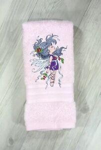 Kids Hand Towel Embroidered Childrens Birthday Bathroom Gift Fairy Christmas