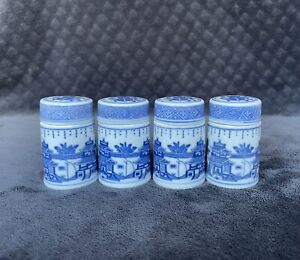 Vintage Chinese Zhongguo Export Canton Blue White Style Porcelain Spice Jars