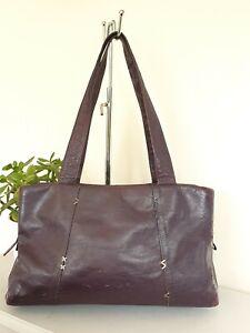 Radley Purple Aubergine Leather Shoulder Tote Large Bag Handbag Well Worn Clean