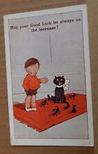"Postcard Humour ""May your Good Luck Be Always on the Increase "" Black Cat , b2"