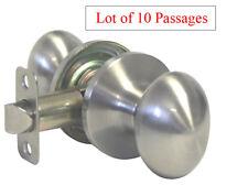 10 Passage Satin Nickel Oval Egg Shape Handle Knobs Door Locks Hall Way Closet