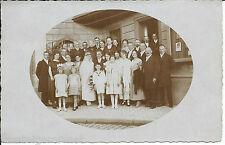 Fotokarte Hochzeitsgesellschaft vor Geschäftshaus  Backnang 1924