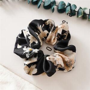 4x Floral Satin Hair Scrunchies Elastic Hair Bands Ponytail Holder Hair Tie Rope