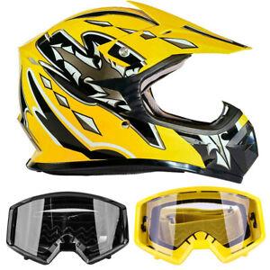 New Youth Yellow Motocross Helmet DOT Goggle Kids Combo ATV UTV DirtBike