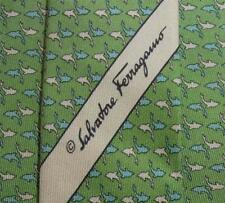 SALVATORE FERRAGAMO TIE All Over Fish On Green Classic Silk Necktie 1dec11a162