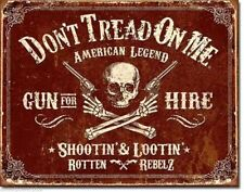 Don't Tread On Me Tin Metal Sign Gun For Hire NRA Skulls DTOM Picture Gift USA
